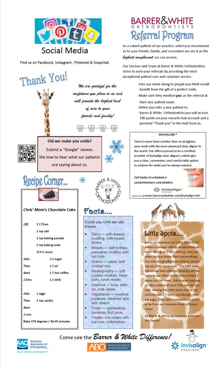 Newsletters Barrer White Orthodontists Reading Pa
